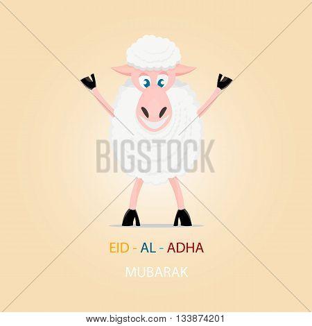 Cartoon sheep, greeting card for Islamic Festival of Sacrifice, Eid-Al-Adha celebration.