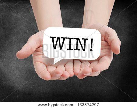 Win written on a speechbubble