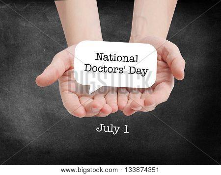 National Doctors Day written on a speechbubble