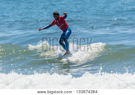 GAIA PORTUGAL - JUNE 11, 2016: Emilien Fleury (FRA) at LQS Longboard Pro Gaia Men's Longboard Tour #3.