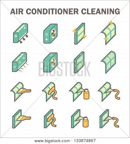 Air conditioning and air filter cleaning vector icon sets.