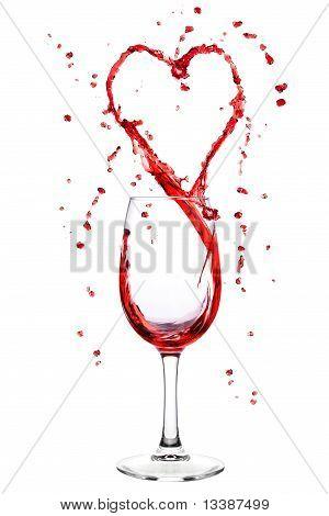 Wine Splashing From Wineglass In Heart Shape