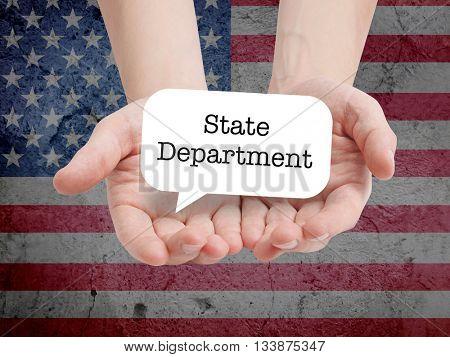 State department written on a speechbubble
