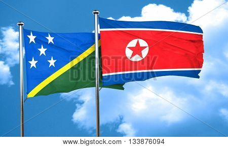 Solomon islands flag with North Korea flag, 3D rendering