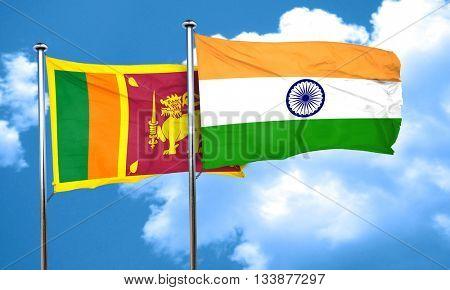 Sri lanka flag with India flag, 3D rendering
