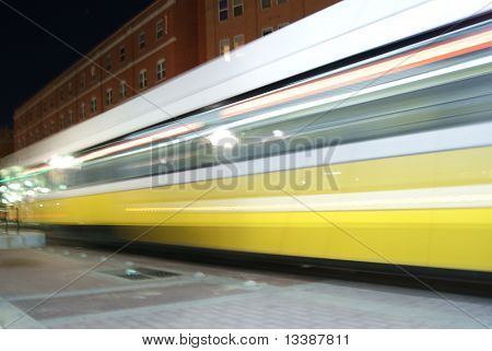 Transportation street car at night in downtown Dallas