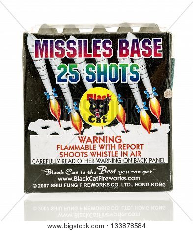 Winneconne WI - 11 June 2016: Black cat missle base fireworks on an isolated background