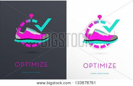 SPORTS SHOE DESIGN , INCORPORATED IN A STOPWATCH , VECTOR ICON / LOGO , ON BLACK AND WHITE BACKGROUND