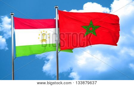 Tajikistan flag with Morocco flag, 3D rendering