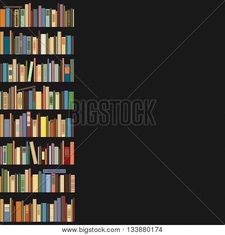 Books standing in a row on a dark background. Space for text.