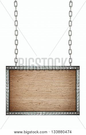 old fabric signboard hanging on chains isolated
