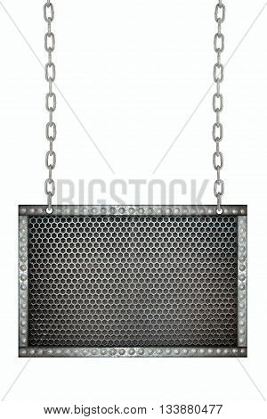 metal mesh Seamless signboard hanging on chains isolated