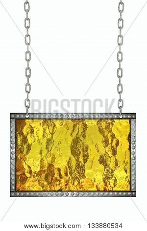 Shiny yellow gold signboard hanging on chains isolated