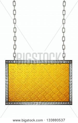 gold Stained glass signboard hanging on chains isolated