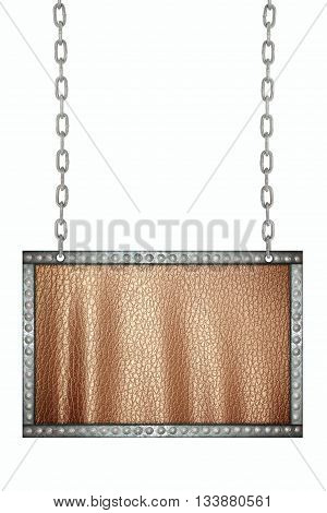 Leather sofa signboard hanging on chains isolated