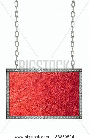 Shiny Red leaf foil signboard hanging on chains isolated