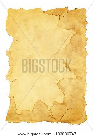 Background old paper isolated on white background.