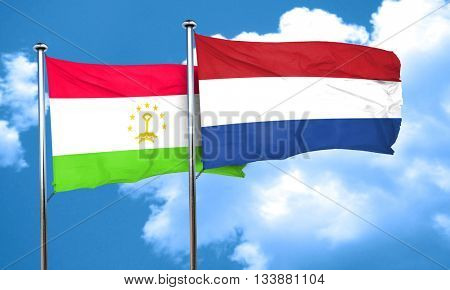 Tajikistan flag with Netherlands flag, 3D rendering