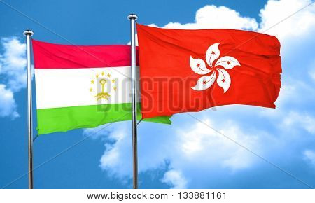 Tajikistan flag with Hong Kong flag, 3D rendering
