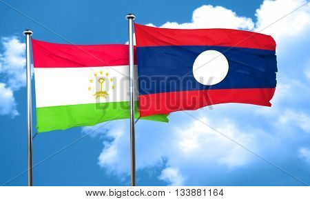 Tajikistan flag with Laos flag, 3D rendering