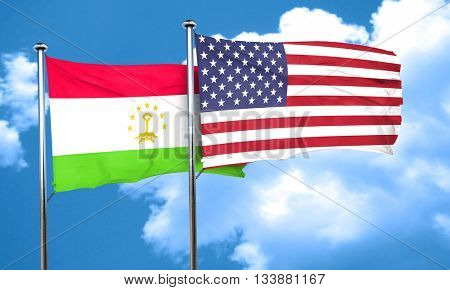 Tajikistan flag with American flag, 3D rendering