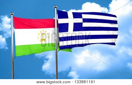 Tajikistan flag with Greece flag, 3D rendering