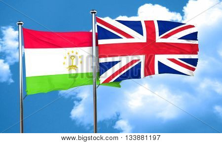 Tajikistan flag with Great Britain flag, 3D rendering