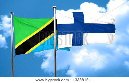 Tanzanian flag with Finland flag, 3D rendering