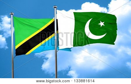 Tanzanian flag with Pakistan flag, 3D rendering