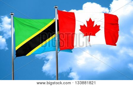 Tanzanian flag with Canada flag, 3D rendering