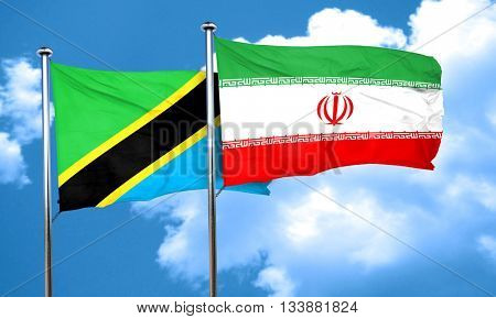 Tanzanian flag with Iran flag, 3D rendering