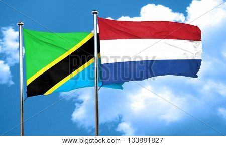 Tanzanian flag with Netherlands flag, 3D rendering