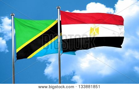Tanzanian flag with egypt flag, 3D rendering