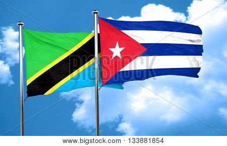 Tanzanian flag with cuba flag, 3D rendering