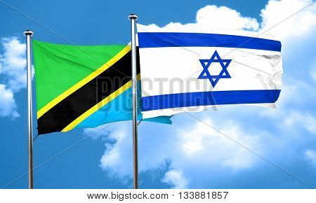 Tanzanian flag with Israel flag, 3D rendering