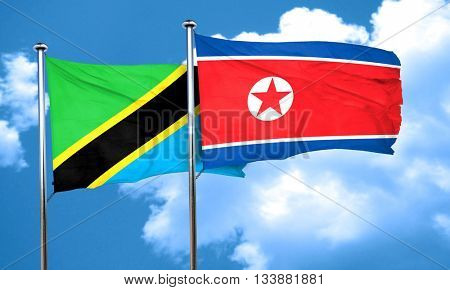 Tanzanian flag with North Korea flag, 3D rendering