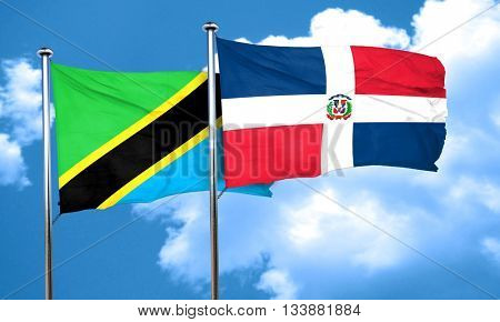 Tanzanian flag with Dominican Republic flag, 3D rendering