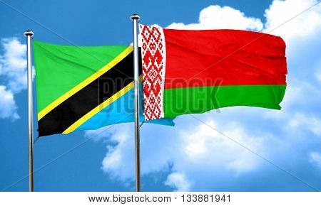 Tanzanian flag with Belarus flag, 3D rendering