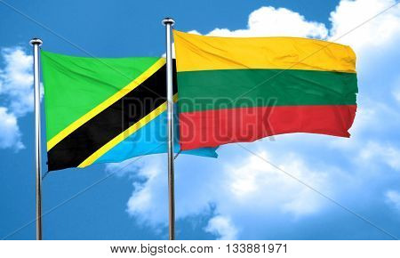 Tanzanian flag with Lithuania flag, 3D rendering
