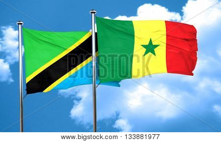 Tanzanian flag with Senegal flag, 3D rendering
