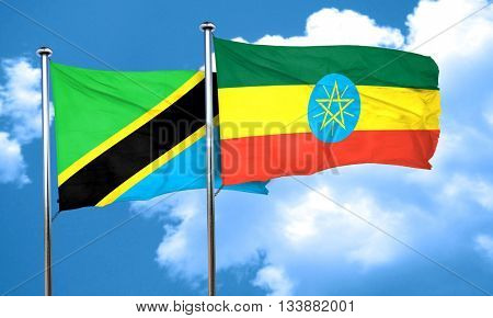Tanzanian flag with Ethiopia flag, 3D rendering
