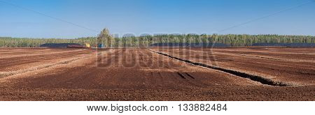 Panorama of the field with peat sunny day.