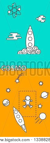 Concept banner with Space theme with flat astronomic objects and symbols of Planets, Rocket, Spaceman for Mobile Interface, invitations and advertisement. Trendy line Design Vector Illustrations.