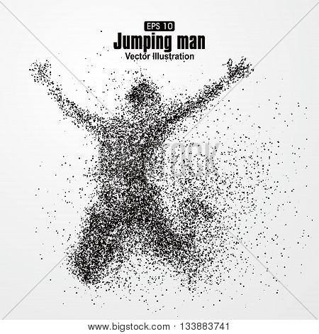 Jump man,Vector graphics composed of particles,vector illustration.