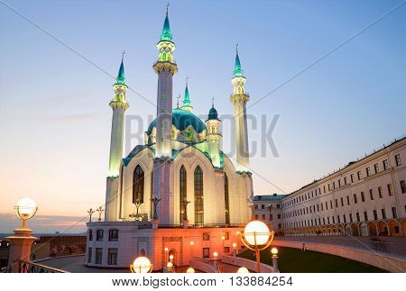 The Kul-Sharif mosque in the april twilight. Kazan, Tatarstan, Russia