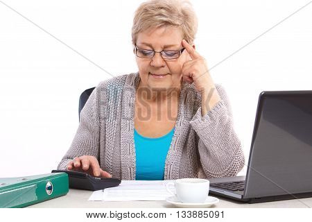 Elderly Senior Woman Counting Utility Bills At Her Home, Financial Security In Old Age