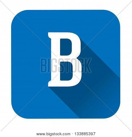 Letter b alphabet long shadow flat icon EPS 10 vector