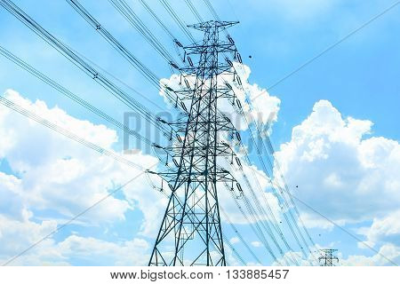 stand alone of giant electricity post alone with the cable with the blue sky as a background
