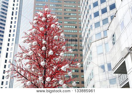 Christmas tree in the front of modern buildings
