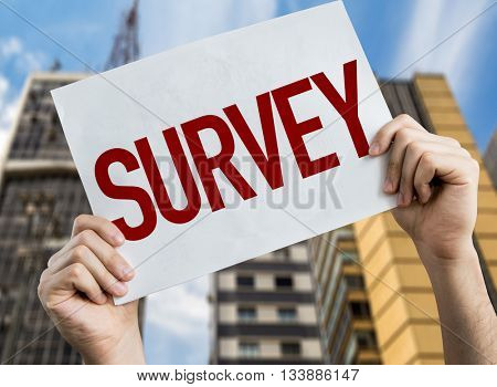 Survey placard with cityscape background